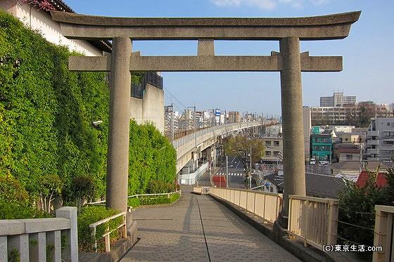 赤羽八幡神社の鳥居の下の新幹線