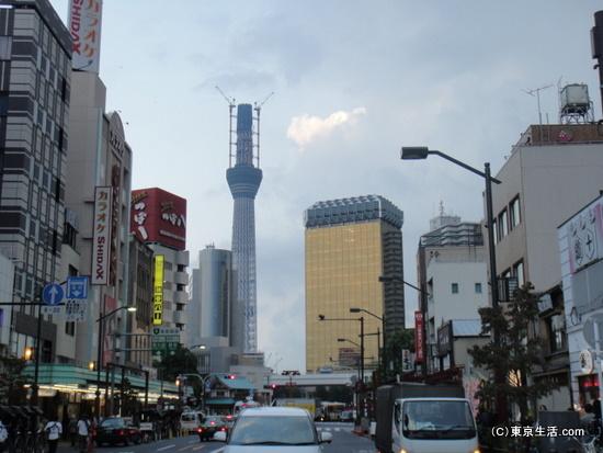 雷門の脇から東京スカイツリー