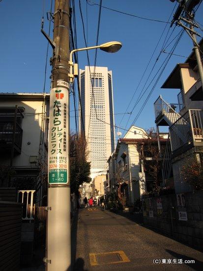 密集型の初台の住宅街