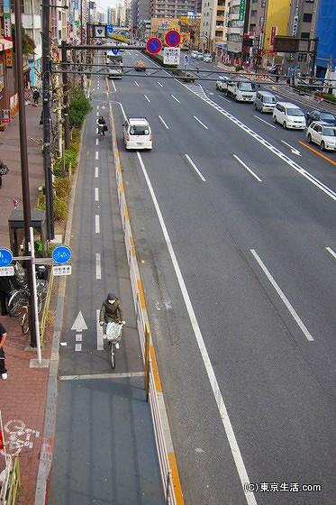 京葉道路の自転車レーン
