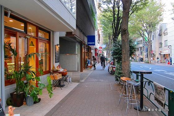 並木道とカフェ