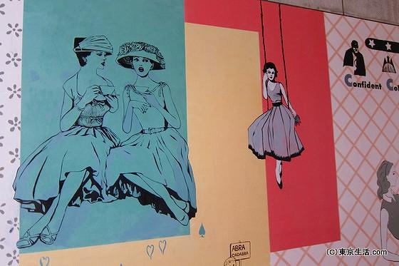 目黒川に架かる橋の壁画