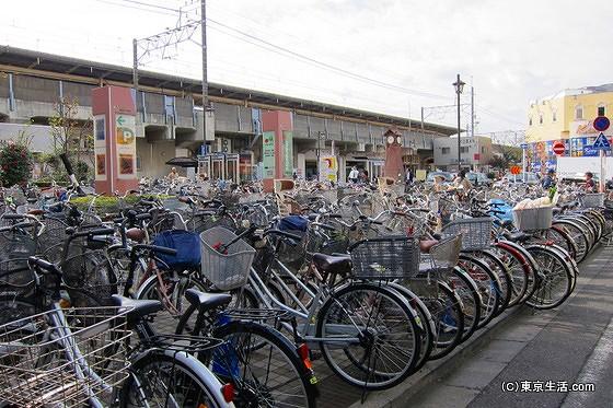 自転車が停まる下総中山