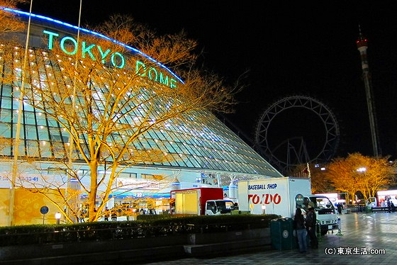 夜でも東京ドームと後楽園