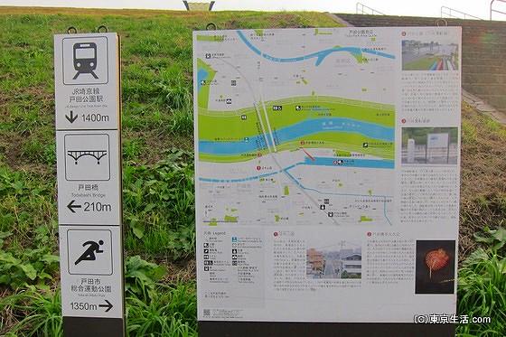 荒川の土手の地図