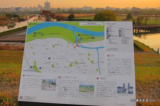荒川の堤防の地図