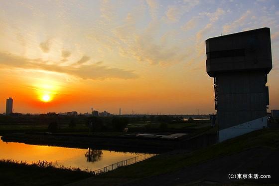 荒川の夕陽