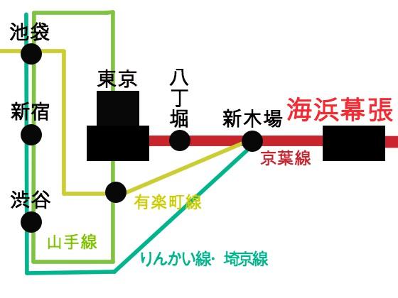 海浜幕張駅への路線図