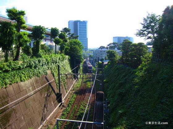 瀬田の高級住宅街を走る東急線