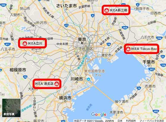 東京にあるIKEAの地図