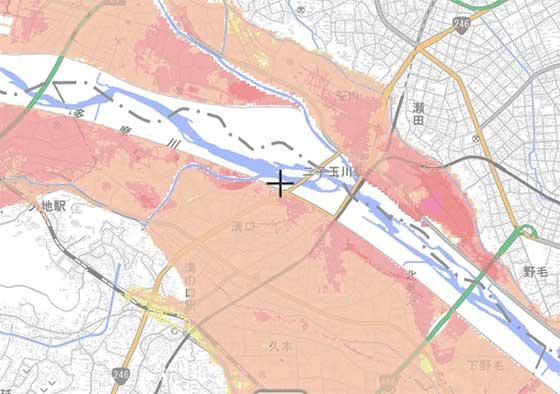 ハザードマップによる洪水危険性