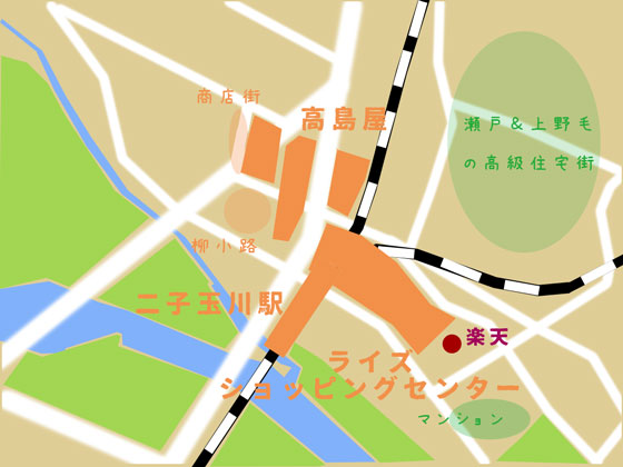 地図|二子玉川の買い物マップの画像
